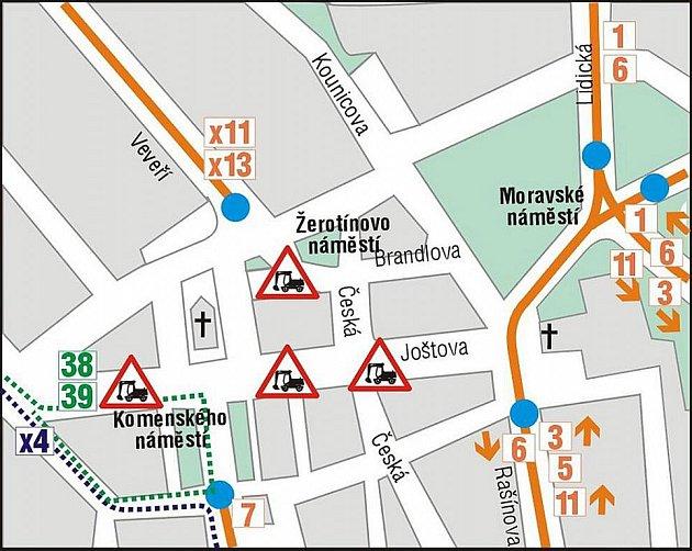 Výluka Joštova ulice: 2.etapa 1.7.-31.8. 2010.