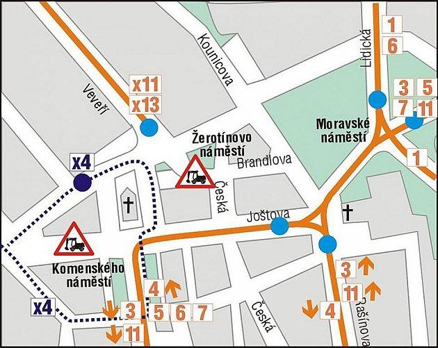Výluka Joštova ulice: 3.etapa 1.9.-30.10. 2010.
