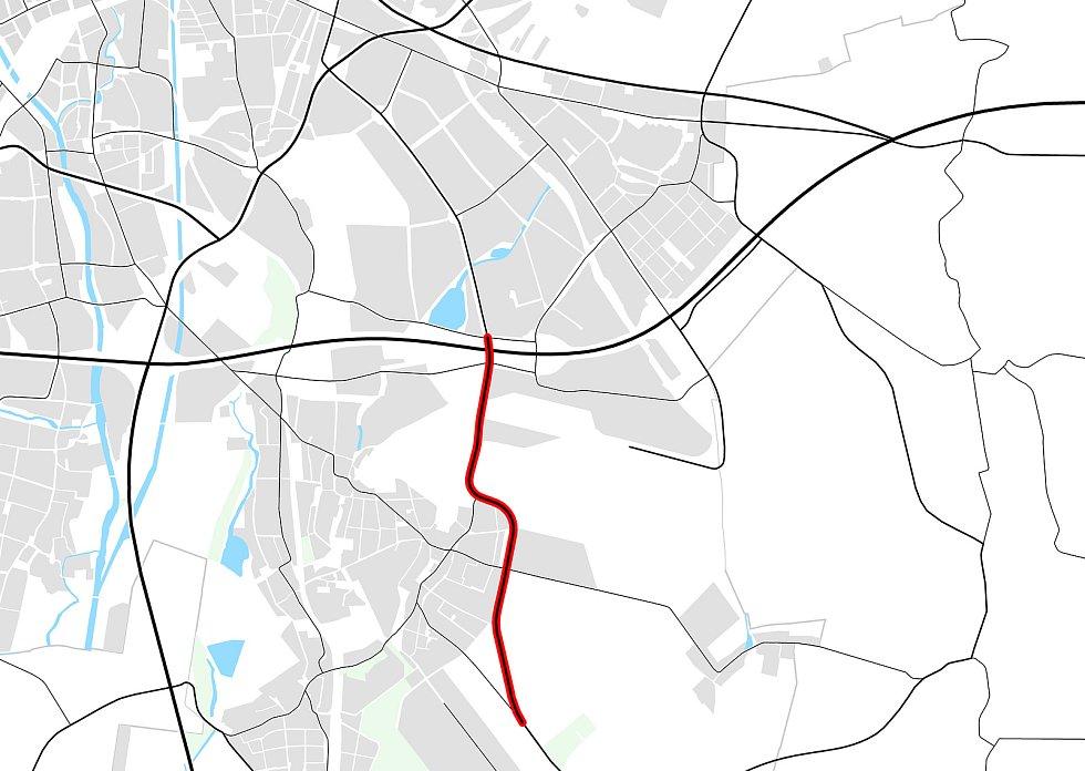 Detail obchvat Tuřan v návrhu nového územního plánu Brna.