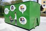 Nové sběrné středisko odpadu v Sochorově ulici v brněnských Žabovřeskách před otevřením, 20. května 2021.