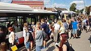 Brno 8.7.2019 - zastávka MHD a přestupní uzel Dělnický dům