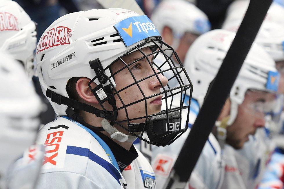 Brno 18.2.2020 - domácí HC Kometa Brno (Jakub Brabenec) v bílém proti Mountfield Hradec Králové