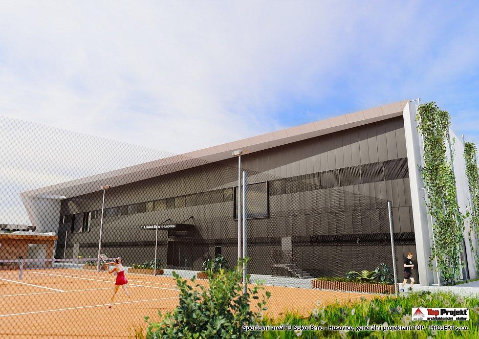 Budoucí sportovní areál husovických sokolů u řeky Svitavy.