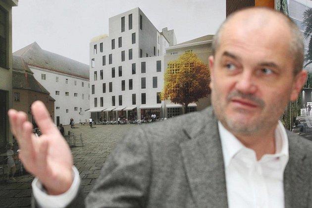 Sedm svých a čtyřicet prací svých studentů představuje architekt a učitel Petr Pelčák na výstavě v budově rektorátu Vysokého učení technického.