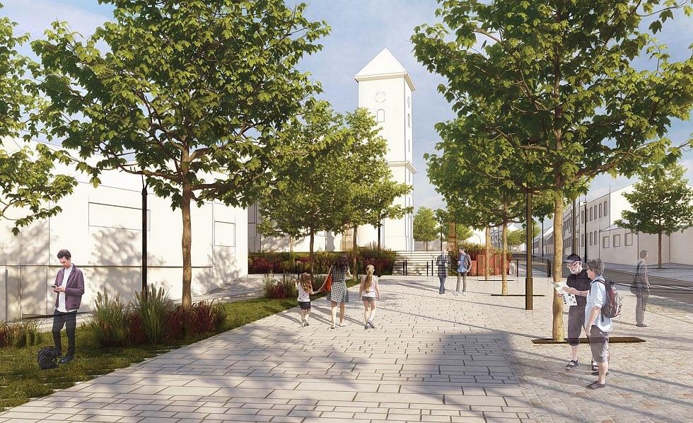 Vítězný návrh architektonické soutěže na novou podobu náměstí Karla IV. v brněnské Líšni.
