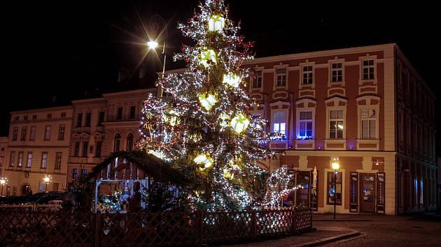 Vánoční strom na Masarykově náměstí ve Znojmě.
