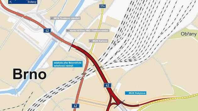 ŘSD obdrželo tři nabídky na realizaci stavby I/42 Brno VMO Tomkovo náměstí a I/42 Brno VMO Rokytova