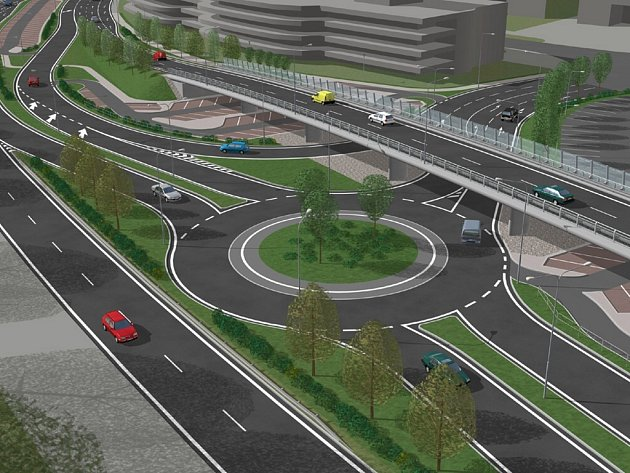 Plánovaná křižovatka u čtvrté brány brněnského výstaviště - vizualizace.