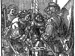Dřevoryt z počátku 16. stol. Vojáci hrají kostky.