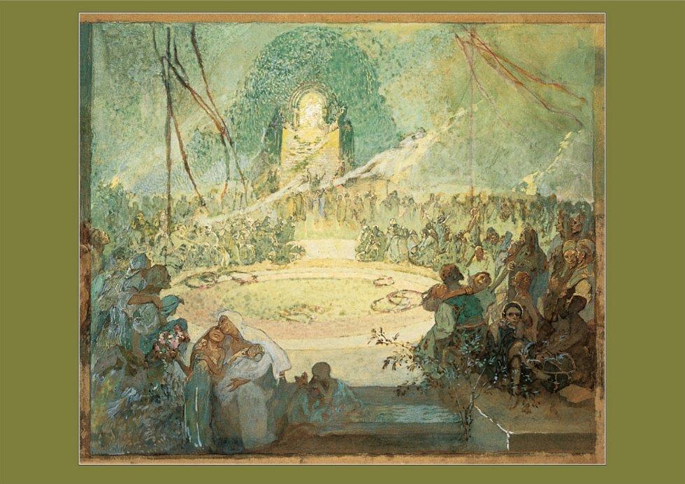 Pohlednice s vyobrazením části triptychu Tři věky: Věk lásky, v grafické podobě.