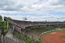 Fotbalový stadion za Lužánkami, květen 2021.