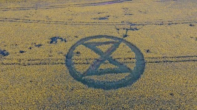 Do pole u Doubravice nad Svitavou vykosili aktivisté symbol svého hnutí.