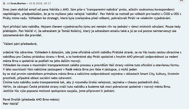 Nabídka Pirátům od brněnského primátora Petra Vokřála. Pro zvětšení klikněte.
