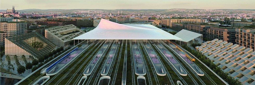 Čtvrté místo: návrh podoby nového hlavního vlakového nádraží v Brně od BIG – Bjarke Ingels Group + A8000 s.r.o.