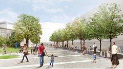 Návrh ellement architects s.r.o. na rekonstrukci parku mezi Místodržitelským palácem a Rooseveltovou ulicí, který získal druhé místo.
