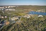 Letecký pohled na přístaviště na vizualizaci firmy knesl kynčl architekti a Projektová kancelář Ossendorf.