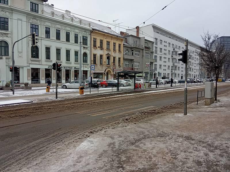 Situace na silnicích v Brně.