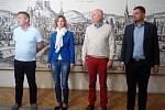 Koaliční jednání v Brně začala schůzkou lídrů hnutí ANO (vlevo Petr Vokřál), ODS (Markéta Vaňková), ČSSD (Oliver Pospíšil) a KDU-ČSL (Petr Hladík).
