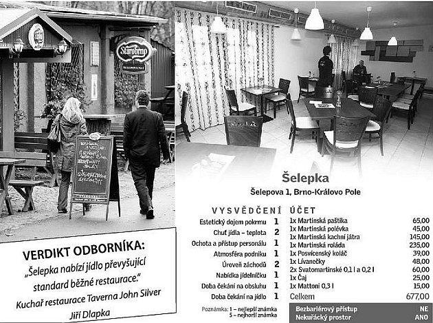 Vysvědčení brněnské restaurace Šelepka.