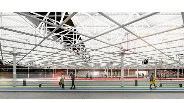 Vizualizace nově plánované podoby brněnského autobusového nádraží Zvonařka.