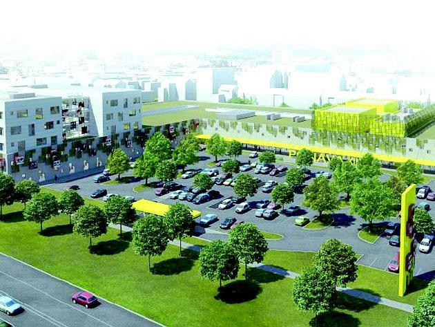 Brněnská Ponava - vizualizace plánovaného obchodního centra.