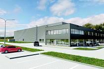 Vizualizace nového areálu s výrobní halou.