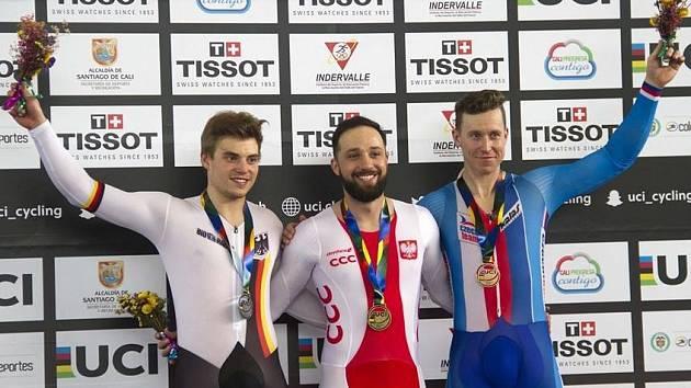 Dráhový cyklista Tomáš Bábek skončil na Světovém poháru v kolumbijském Cali třetí také v závodu na kilometr s pevným startem.
