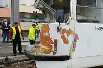 Únorová nehoda tramvají v brněnské Křížové ulici.