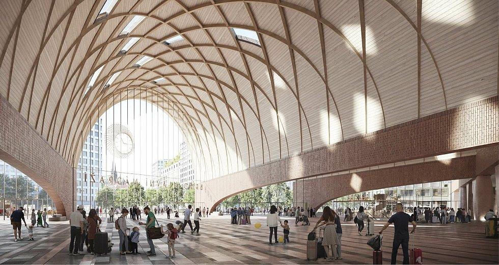 Vítězný návrh architektonické soutěže na podobu nového hlavního vlakového nádraží v Brně.