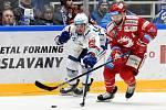 Domácí HC Kometa Brno (bílá) proti HC Oceláři Třinec (červená)