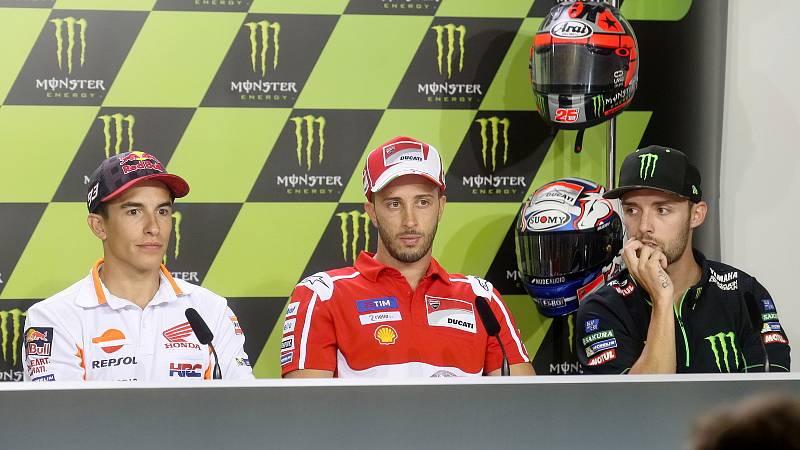 Tisková konference s jezdci Moto GP - zleva Marc Márquez, Andrea Dovizioso a Jonas Folger.