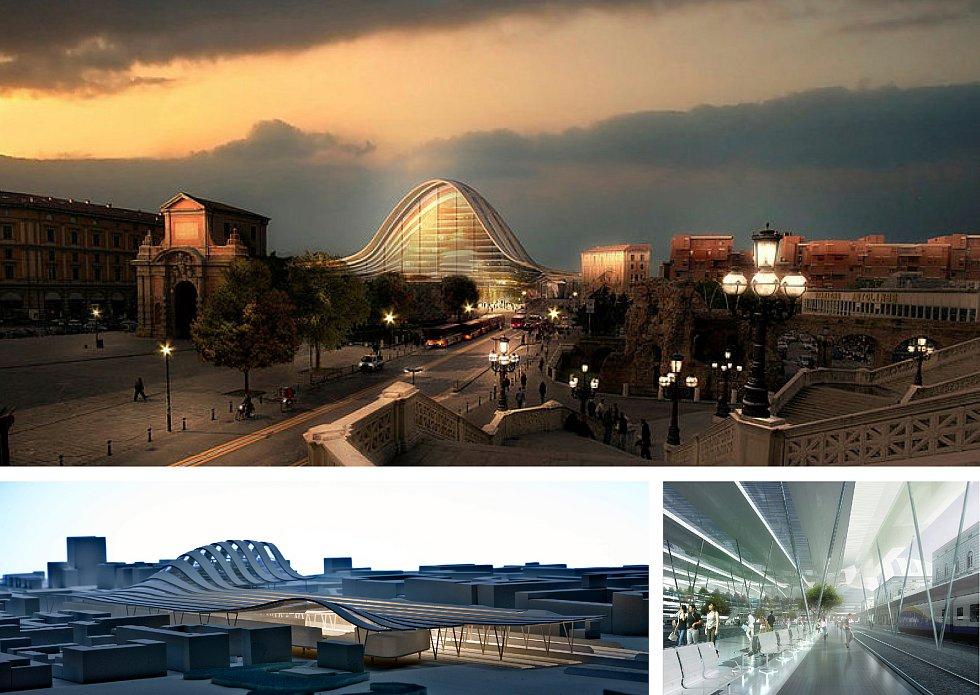 ingenhoven architects, Architektonická kancelář Burian-Křivinka, architekti Koleček-Jura (Düsseldorf – Brno): Návrh komplexu hlavního nádraží v Boloni, Itálie. Vizualizace.