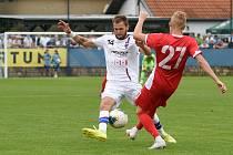 29.8.2020 - domácí SK Líšeň v bílém (Jaroslav Málek) proti FK Blansko (Lukáš Kania)