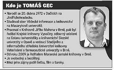 Ředitel Moravské zemské knihovny vBrně Tomáš Gec.