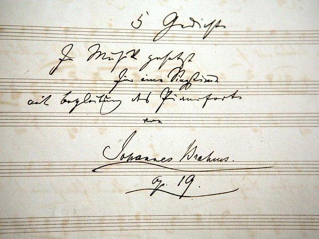 Johannes Brahms - rukopis.
