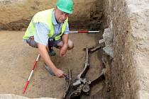 Archeologové na Zelném trhu v Brně odkryli zásobní jámu na obilí. Byla v ní část kostry dítěte a několik dalších kostí
