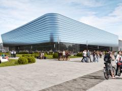 První návrh vizualizace pavilonu D. Nyní se zpracovává koncept ve spolupráci s památkáři a výsledná podoba fasády pavilonu bude zřejmě odlišná.