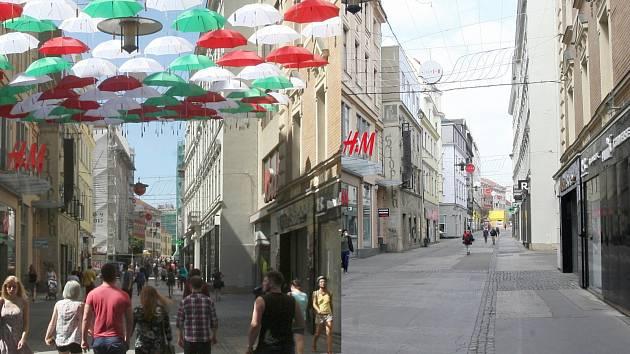 Srovnání pohledu na běžně zaplněnou Českou ulici v Brně se současným obrázkem za nouzového stavu a omezeného vycházení kvůli šíření koronaviru.
