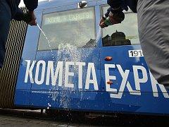 Křest tramvaje Kometa Expres na náměstí Svobody v Brně.