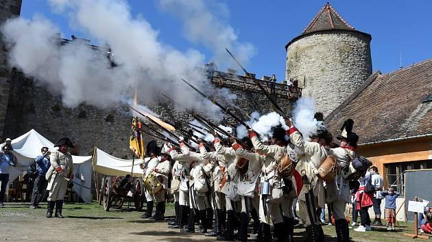 Bitva napoleonských armád o hrad Veveří.