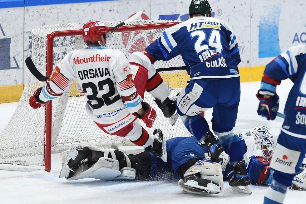 Brno 17.1.2021 - domácí HC Kometa Brno v modrém (Karel Vejmelka Michal Gulaši) proti Mountfield Hradec Králové (Jakub Orsava)