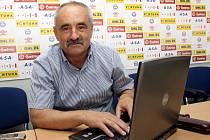 Trenér 1.FC Brno Karel Večeřa při online rozhovoru.