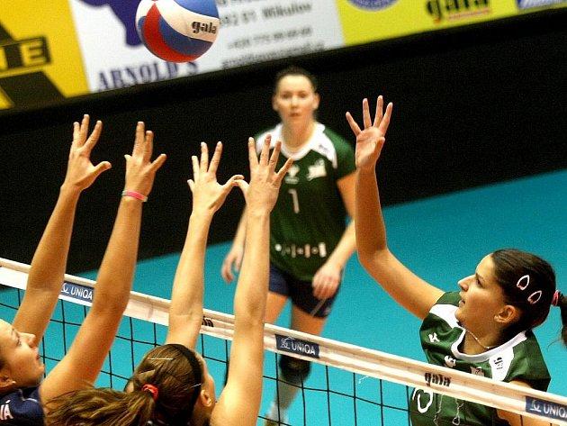 Volejbalistky KP Brno v utkání s SG Brno.