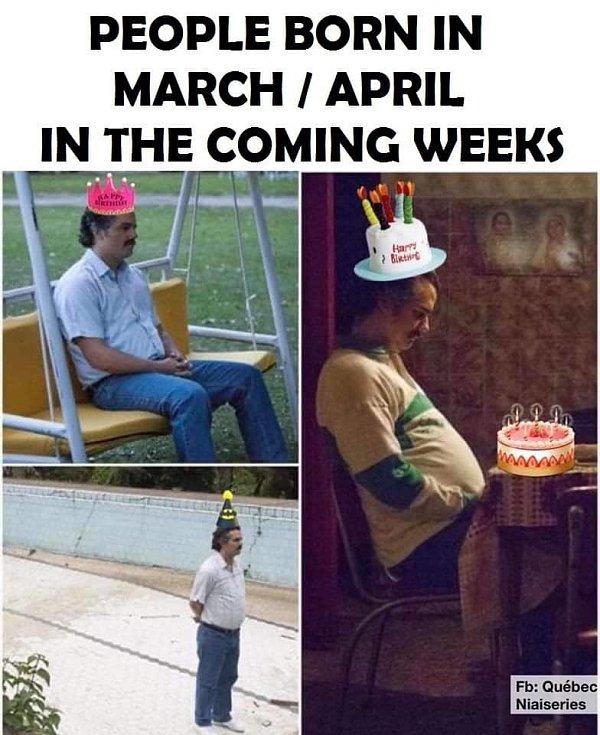 Na žádnou velkou narozeninovou party to nevypadá u oslavenců na přelomu března a dubna. SNad se ale nebudou cítit tak osamoceni jako drogový baron Pablo Escobar na konci svých dnů. Na útěku před zákonem byl odříznutý od své rodiny a nejbližších.
