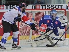 Hokejisté Komety se utkali se švýcarským Zugem. V bráně Brňanů dostal šanci mladík Lukáš Dostál.