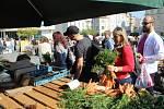 Prodejci na Zelném trhu v Brně.