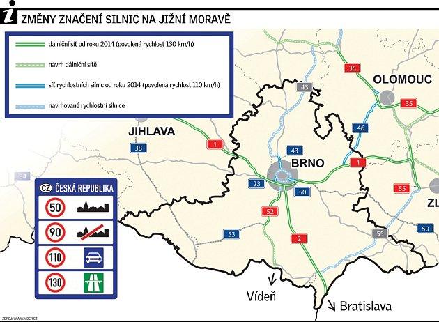 Změny značení silnic na jižní Moravě.