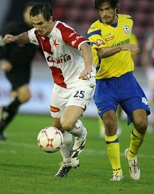 Fotbalisté 1. FC Brno mají první letní posilu. Na post pravého záložníka získali pětadvacetiletého Davida Kalivodu. Na fotce ještě v dresu Slavie.
