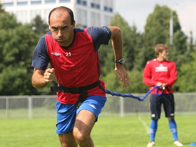 Trénink posil fotbalistů 1. FC Brno.