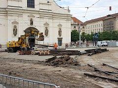 Oprava Moravského náměstí v Brně.